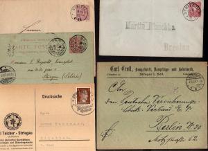 v246 12 Belege Striegau 1880 - 1943 2x Paketkarte 1924 1926 Infla Gebühr bezahlt