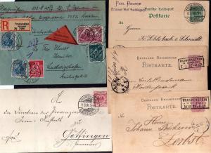v249 5 Belege Frankenstein  in Schlesien Einschreiben Infla 1922 Nachnahme