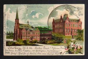 Ansichtskarte Oderberg O. Schlesien 1902 Schule Kirche Gemeindehaus