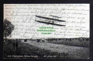 Ansichtskarte Flugzeug Doppeldecker L´aeroplane Wilbur Wright 1919  Menilmontant