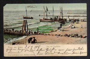 Ansichtskarte Cranz Ostpreußen  Steg mit Segelbooten 1905