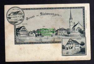 Ansichtskarte Kleinwangen Hohenrain Kanton Luzern um 1900 Bäckerei Kirche Gasthaus