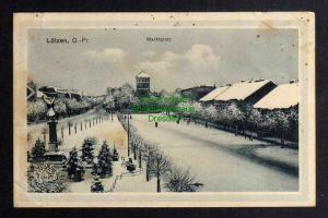 Ansichtskarte Lötzen Ostpreußen Marktplatz im Winter um 1916  1. Weltkrieg Feldpost