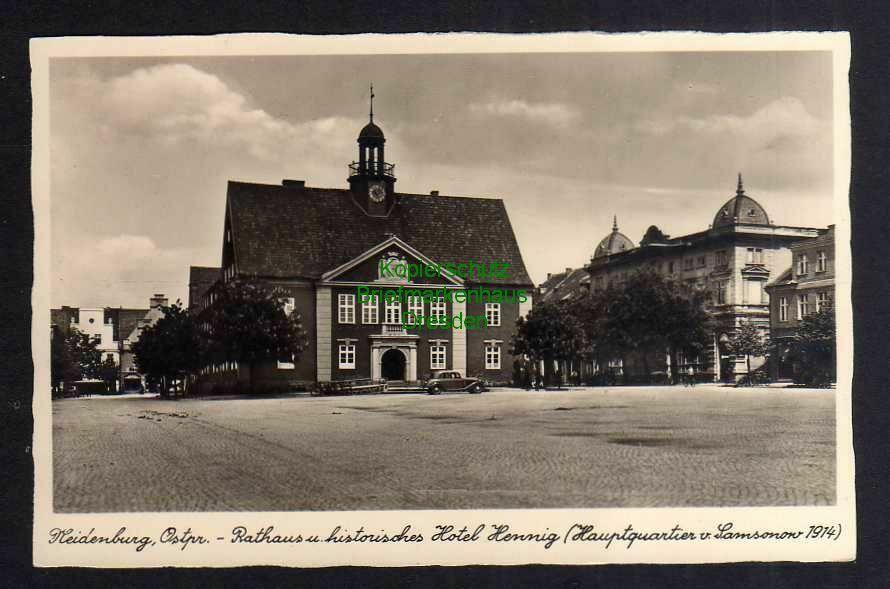 Ansichtskarte Neidenburg Opr. Rathaus Hotel Henning um 1920 0