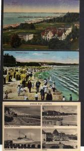 3 Ansichtskarte Zoppot Freie Stadt Danzig 1922 Strandleben 1913 Seesteg Kasinohotel