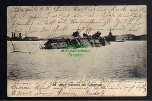 Ansichtskarte Port Arthur Belagerung geschieben Peking China 1905 versenktes Schiff