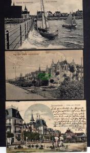 3 Ansichtskarte Swinemünde 1920 Villen am Srtrande 1902 Seebrücke 1916