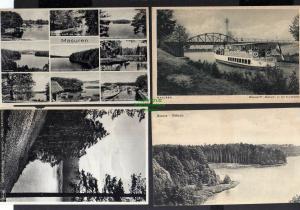 4 Ansichtskarte Masuren  Ostpreußen Niedersee Motorschiff Ostmark 1928 Cruttinnafluß