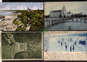 4 Ansichtskarte Kolberg Strandschloss mit Seesteg Nettelbeck Gneisenau Denkmal 1908