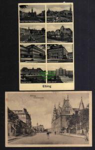 2 Ansichtskarte Elbing Elblag Friedrichstraße 1919 Polizeipräsidium Schule Postamt