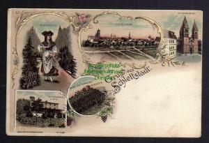 Ansichtskarte Schlettstadt Selestat Elsass Schlestadt um 1900 Litho Hotel Kirche