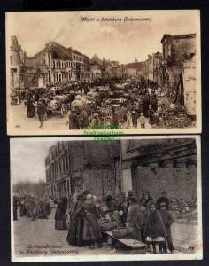 2 Ansichtskarte Ortelsburg Opr. Markt 1915 Ostpreussenhilfe Obsthändlerinnen