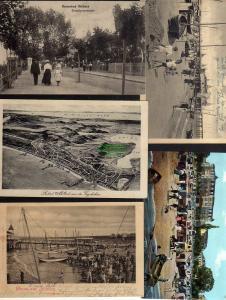 5 Ansichtskarte Ahlbeck Strandpromenade 1909 Strandkörbe Vogelschau 1926 Hafen Boote