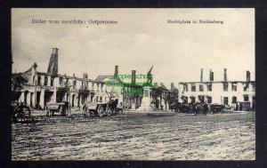 Ansichtskarte Bilder vom zerstörten Ostpreußen Marktplatz in Neidenburg 1917