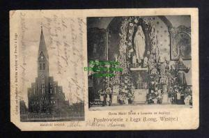 Ansichtskarte Long Westpreussen 1907 kathol. Kirche Grota matki Boski z Lourdes
