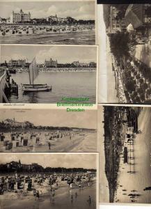 6 Ansichtskarte Zinnowitz Usedom Strandleben 1912 Fotokarte 1934 Hochsaison Rutsche