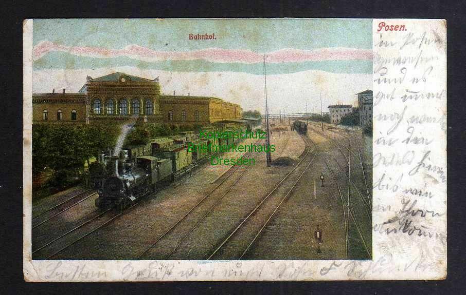 Ansichtskarte Posen Bahnhof 1906 0