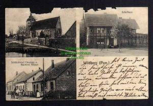Ansichtskarte Wildberg Pommern 1910 Kirche Schule Schlächterei Gentzen Bäckerei Klip