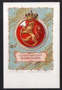 Ansichtskarte Wappenkarte Königreich Norwegen 1900 Kunstverlag Paul Kohl Chemnitz