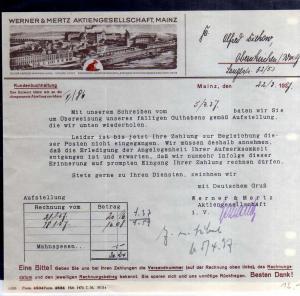 v590 Briefbogen Firmenrechnung Mainz 1937 Werner & Mertz AG Fabrikansicht