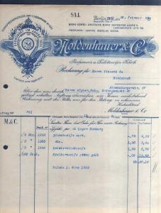 v508 Briefbogen Firmenrechnung Berlin 1932 Moldenhauer Parfümerie Toiletteseifen