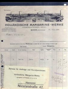 v587 Briefbogen Firmenrechnung Goch Rheinland 1910 Holländische Margarine Werke