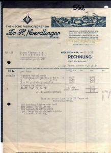 v562 Briefbogen Firmenrechnung Flörsheim am Main 1934 Chemische fabrik Dr. H. No