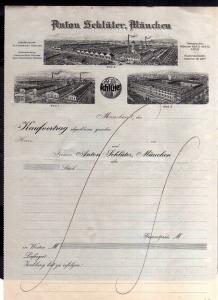 v571 Briefbogen Kaufvertrag München um 1920 Schlüterwerke Fabrikansichten