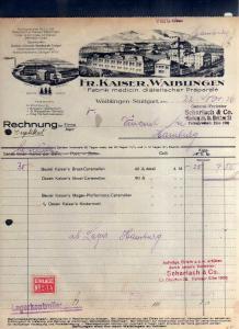 v553 Briefbogen Firmenrechnung Waiblingen Stuttgart 1926 Fr. Kaiser Fabrik medic