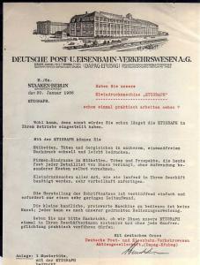 v524 Briefbogen Schreiben Berlin Staaken Deutsche Post u. Eisenbahn Verkehrswese