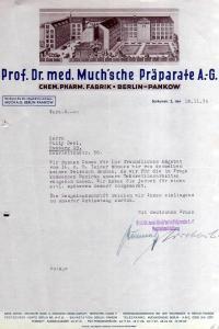 v501 Briefbogen Firmenrechnung Berlin Pankow 1939 Prof. Dr. med Muchsche Präpara