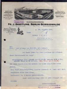 v522 Briefbogen Firmenrechnung Berlin Borsigwalde 1929 Firmenansicht Schraubenfa
