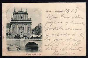 Ansichtskarte Ljubljana Laibach Kirche Franziskanerkirche 1899