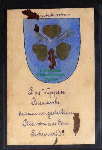 Ansichtskarte Fürst Bismarck um 1925 Das Wappen aus Blättern aus dem Sachsenwald
