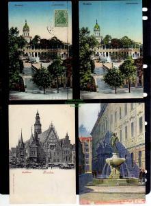 12 Ansichtskarte Breslau Liebichshöhe 1913 Rathaus 1900 Fechterbrunnen Rathaus Dom