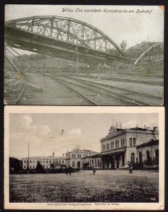 2 Ansichtskarte Wilna Vilnius Bahnhof 1916 zerstörte Eisenbahnbrücke am Bahnhof 1918