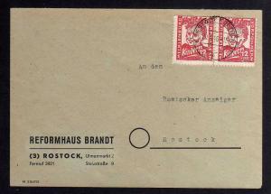 B1034 Brief Mecklenburg 1946 2 x 28a Rostock gepr. Kramp BPP