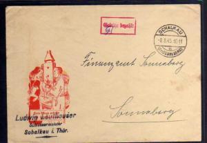 B710 SBZ Brief Gebühr bezahlt 1945 Schalkau Kr. Schneeberg Schlossermeister Leu