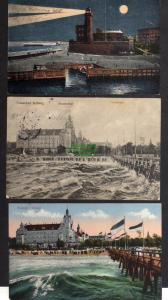 3 Ansichtskarte Kolberg 1927 Leuchtturm Strandschloss 1915 Feldpost 1916