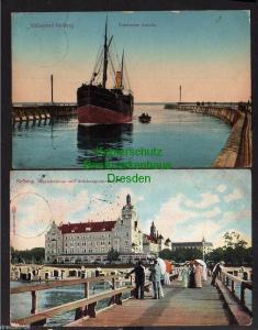 2 Ansichtskarte Kolberg Strandschloss Brückenpromenade 1912 Einfahrender Dampfer