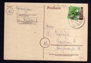 h1826 Handstempel Bezirk 20 Genthin Postkarte 25.6.48 Ortskarte gepr. Dr. Modry