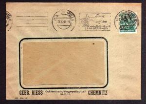 h1284 Brief Handstempel Bezirk 41 Chemnitz 26.6.48 Kohlenhandel Gebr. Riess