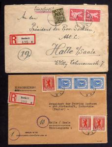 B1015 2x Brief Westberlin Einschreiben Berlin Britz an Präsident der Provinz Sac
