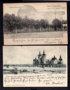 2 Ansichtskarte Swinemünde 1900 Kurhaus Restaurant Seebrücke