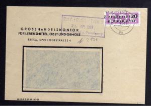 B1523 DDR ZKD 15 Kontrollzahl 1312 Brief Riesa geprüft BPP Grosshandelskontor Le