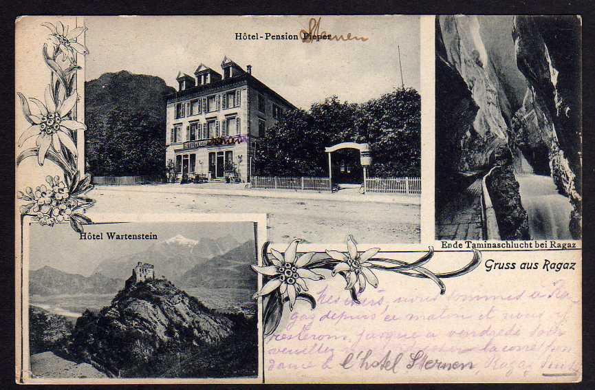 Ansichtskarte Bad Ragaz 1909 Hotel Pension Pieper Wartenstein Taminaschlucht 0