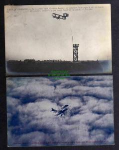 2 Ansichtskarte Flugzeug Doppeldecker 1909 aeroplane Voisin Über den Wolken 1916