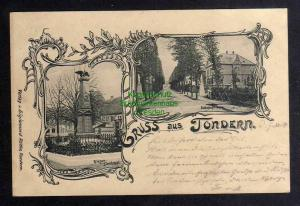 Ansichtskarte Tonder Tondern 1899 Kriegerdenkmal Bahnhofstrasse