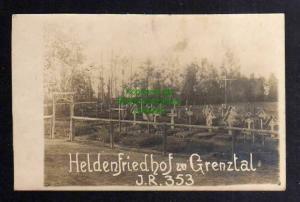 Ansichtskarte Fotokarte Heldenfriedhof zu Grenztal I.R. 353 1916 Lettland bei Riga