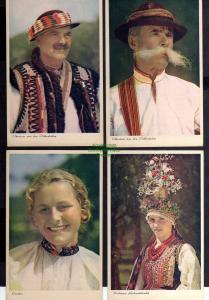4 Ansichtskarte Trachten Ukrainer Ostbeskiden Lemkin Krakauer Hochzeitstracht u 1940